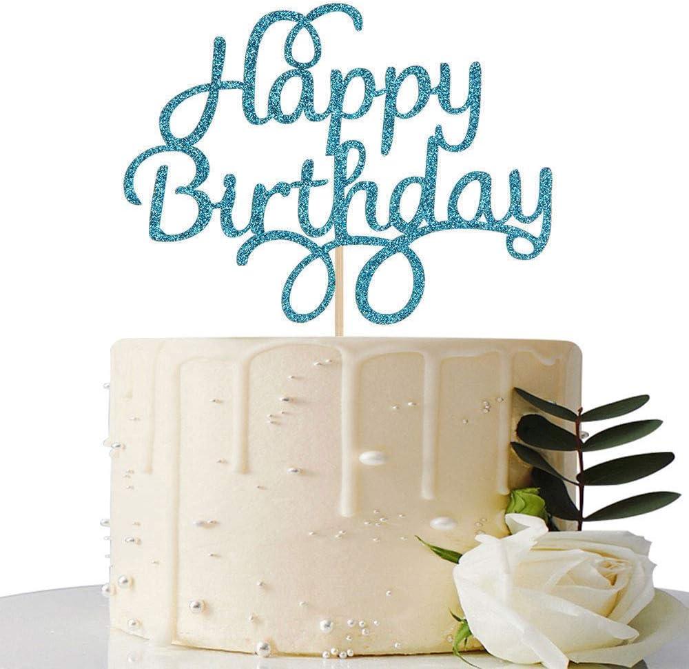 Blue Glitter Happy Birthday Ranking Seattle Mall TOP9 Topper Cake Decorati Party