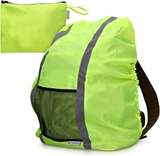 Navaris Reflective Waterproof Backpack Cover - High Visibility Bag Cover Hi Vis Rain Cover Weather Protection for Cycling Hiking Outdoors - Yellow