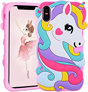 Vivid Unicorn Case for iPhone X / XS 10,3D Cartoon Animal Cute Soft Silicone Rubber Protective Pink Cover,Childish Animated Stylish Fashion Cool Skin Shell for Kids Child Teens Girls ( iX XS 10)