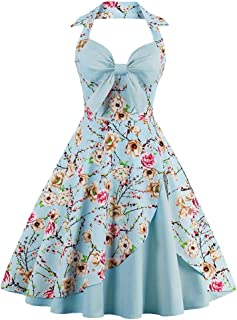 Rambling Women's Vintage Printed Halter Wrap Bow Front 1950s Floral Sping Retro Rockabilly Cocktail Swing Tea Dresses