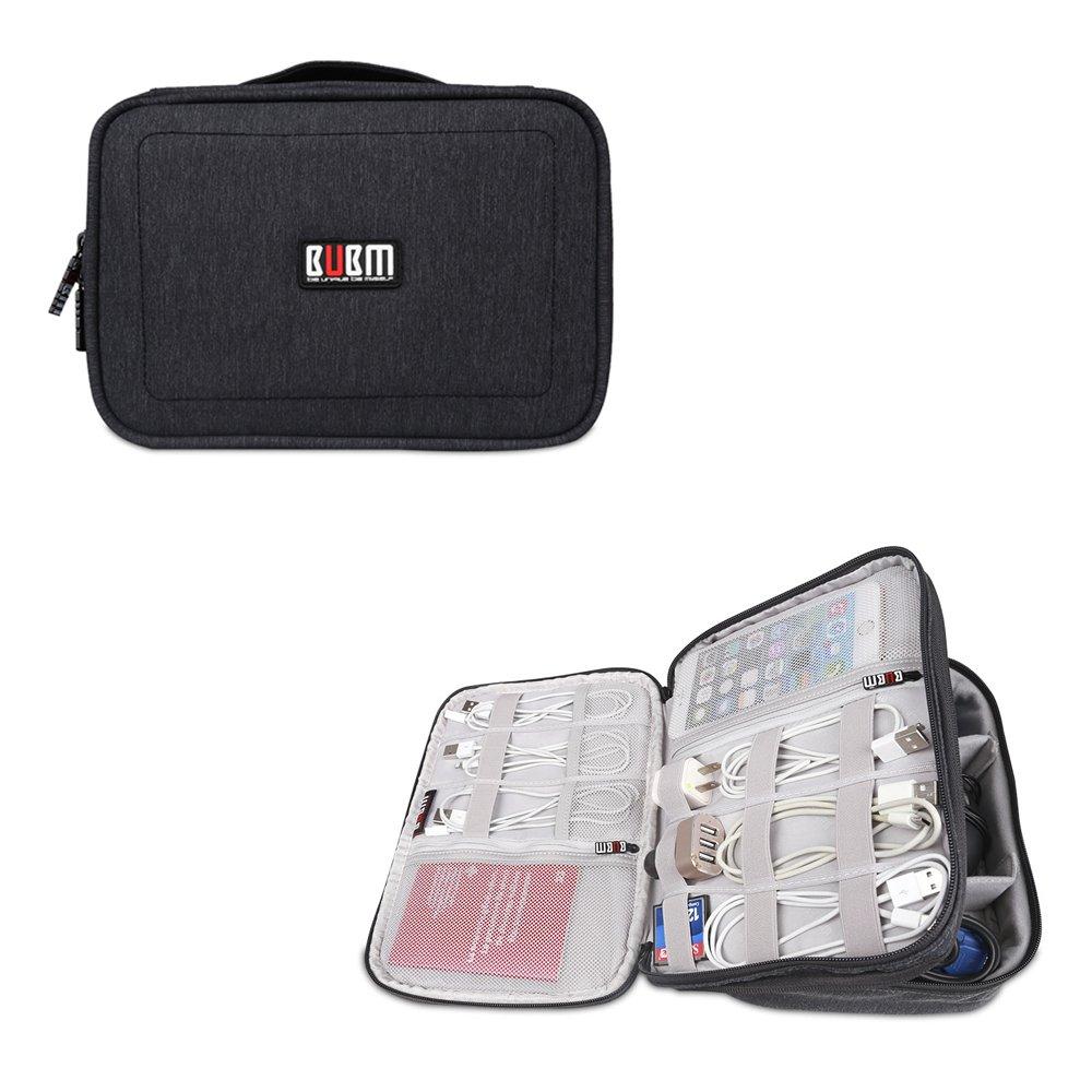 BUBMは美しいDPSパワーパックデジタルアクセサリー仕上げバッグ収納袋ウォッシュバッグ化粧品袋iPad収納(中27.5 * 21 * 8 CM、黒)でなければならない