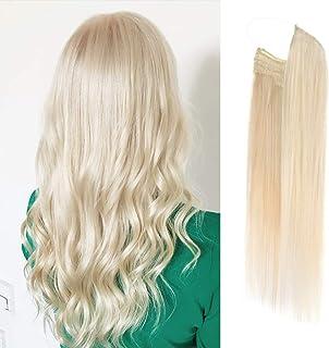 Vanalia Premium Remy Human Hair Halo Hair Extensions, Platinum Blonde 60#, 16 Inch. 100 Gram