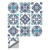 decalmile 10 Piezas Pegatinas de Azulejos 15x15cm Azul Vintage Marroquí Adhesivo Decorativo para Azulejos Cocina Baño Decoración
