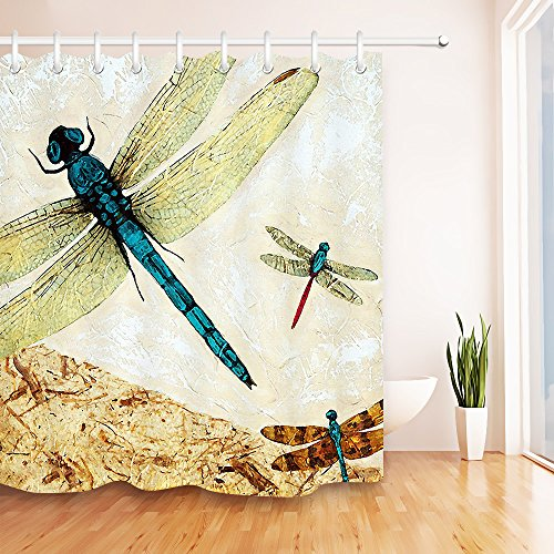 LB Dragonfly Shower Curtain Flying Bug Over Nature Scene on Retro Texture Background Country Style Shower Curtain for Bathroom,Waterproof Fabric 72x72 Inch