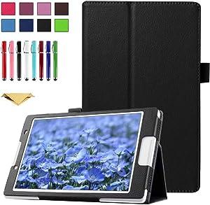 TianTa Case for Lenovo Tab 2 A10-70, A10-70F / Lenovo Tab 3 TB3-X70L, TB3-X70F, Slim Folding PU Leather Cover with Auto Sleep/Wake Feature, Black