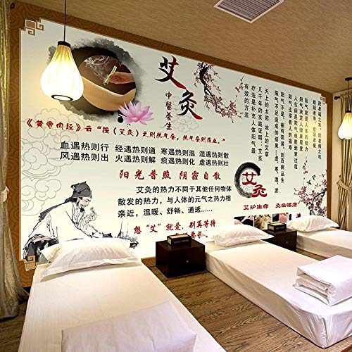 Papel tapiz de fondo para acupuntura y moxibustión chinas Moxibustión Masaje al vapor Store-430Cmx300Cm