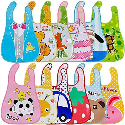 Lictin 12 pcs baberos de bebé impermeables Unisex para niños pequeños de 6 meses a 6 años