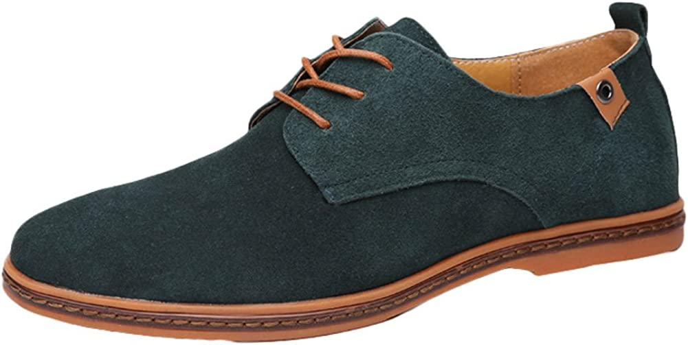 King Ma Men's Flats Lace up Suede Oxford Causal Shoes