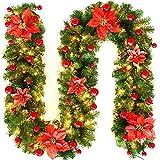 PopHMN Guirnaldas de Luces,Coronas de 2,7 m con Luces LED iluminadas, decoración de escaleras para Chimenea, Guirnalda Luminosa con Pilas para decoración de Festivales navideños (Rojo)