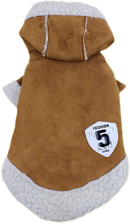 Pet Clothes, Winter Clothing Fashion Locomotive Jacket 2 Leg Puppy Cats Plus Velvet Clothing (color   Brown, Size   16)
