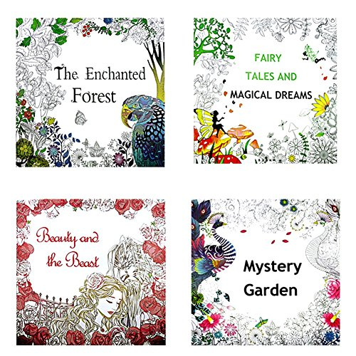 OPOCC 4 Coloring Book including The Enchanted Forest,Mystery Garden,Fairy Tales And Magical Dreams, Beauty and the Beast,Coloring Book for Adults with free high concentration of 12 colors pencils