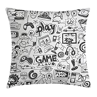 Ambesonne Video Games Throw Pillow Cushion Cover, Monochrome Sketch Style Gaming Design Racing Monitor Device Gadget Teen 90's, Decorative Square Accent Pillow Case, 18 X18 Inches, Black White