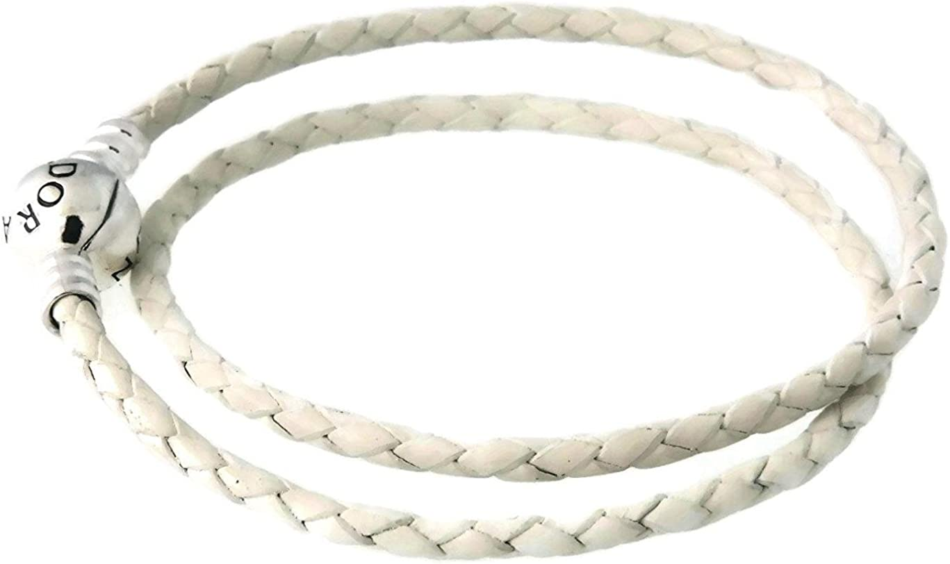PANDORA Ivory White Leather Double-Layer Bracelet w/Sterling Silver  590745CIW-D