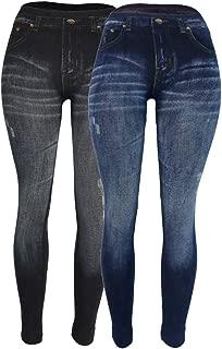 Women's Denim Print Fake Jeans Seamless Full Length Leggings