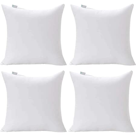 Amazon Com Moonrest 4 Pack Synthetic Down Square Pillow Insert Form Sham Stuffing 100 Down Alternative Microfiber Lined With Woven Cotton Cover For Throw Pillow Sofa Couch Cushion Set Of Four 8 X