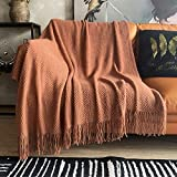 LOMAO Knitted Throw Blanket with Tassels Bubble Textured Lightweight Throws for Couch Cover Home Decor (Caramel, 50x60)