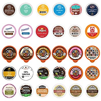 Custom Variety Pack Coffee Tea Cappuccino and Hot Chocolate Variety Sampler Pack for Keurig K-Cup Brewers  All unique cups no duplicates  30 Count  SYNCHKG037913