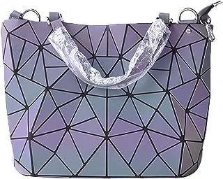 Luminesk Purse Holographic Reflective Handbags Geometric Luminous Purse Medium Size for Women