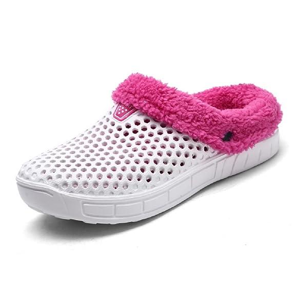QISHENG Mens Women Mules Clogs Slip On Garden Shoes Fur Lined Slides Flip Flops Warm Winter Slipper