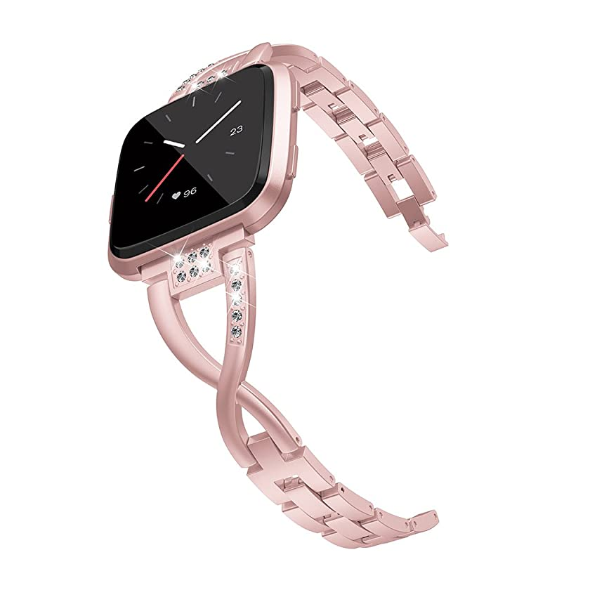 Wearlizer Metal Replacement for Fitbit Versa Bands for Women Rose Gold Silver Black Small Large
