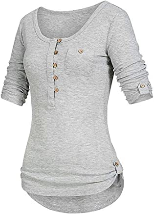 WEISUN Women Casual Pullover Ladies Solid Color Long Sleeve Button Shirt Pullover Tops with Pockets Daily Wearing