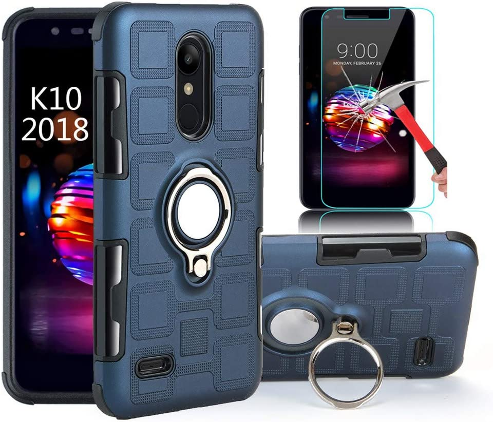 EDSAM Case Compatible with LG Stylo 4/Q Stylo/Stylus 4/Stylo 4 Plus with HD Screen Protector,Dual Layer Shockproof Case with 360 Degree Ring Kickstand Fit Magnetic Car Mount for LG Stylo 4 (Navy Blue)