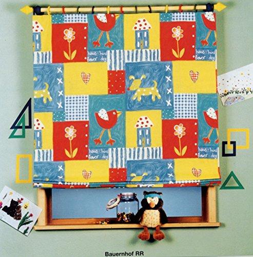 fashion and joy Rideaux pour enfants Rideau décoratif ou store plissé opaque pour chambre d'enfant Rideau ferme avec maison chien cœur fleur oiseau – Animaux colorés Type 84, Tissu, coloré, Raffrollo HxB 170x120 cm