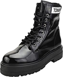 TOMMY HILFIGER Patent Leather Flatform Womens Boots 9.5 B(M) US Women Black