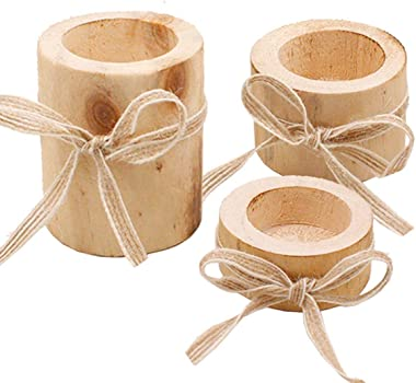 Chris.W 3Pcs Christmas Tea Light Candle Holders Pine Wood Pillar Candlestick Holder Set for Rustic Wedding, Party, Birthday,