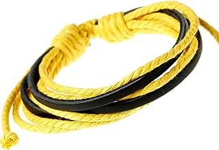 qinlee Retro Pulseras hombre Tiempo libre Wrist Band Mode piel tejedur/ía c/á/ñamo cuerda pulsera joyas bankette Party accesorios de moda Negro