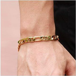 c7fc1a874 Opk Jewelry18k Gold Plated Powerful Men's Bracelet Figaro Link Chain Gold  Bracelet for Men,8.27