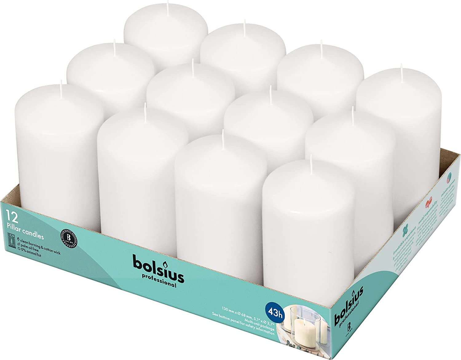 San Diego Mall BOLSIUS Set of 12 White Pillar Candles Unscented Import - 2.75-x 5-inch