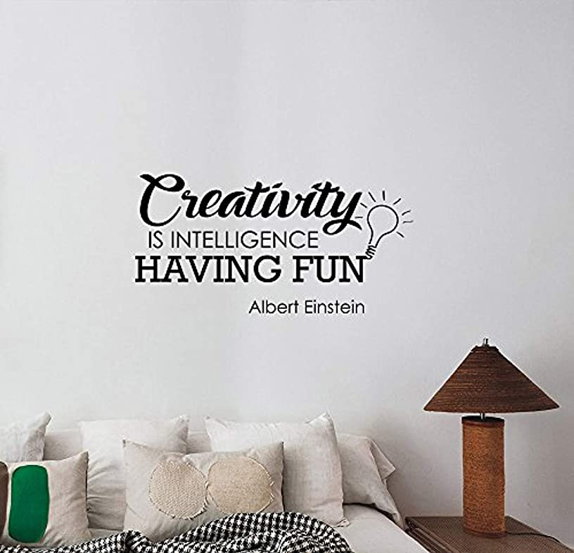 Bro Decals Wall Vinyl Decal Creativity is Intelligence Having Fun Albert Einstein Quote Lettering Science Genius Physics Scientist Saying for School Office Classroom College BR7023