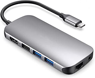 موزع USB C موزع 9 في 1 مع محول HDMI 4كيه 100W PD شحن 1000Mbps منفذ ايثرنت SD 3.0 وTF 3.0 قارئ بطاقة USB 3.0 منفذ USB 3.0 ل...