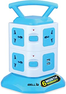iBELL SG721X 7 Way Socket & 2 Way USB Socket Spike Guard Extension Cord Box with LED Indicator,Power 2500W