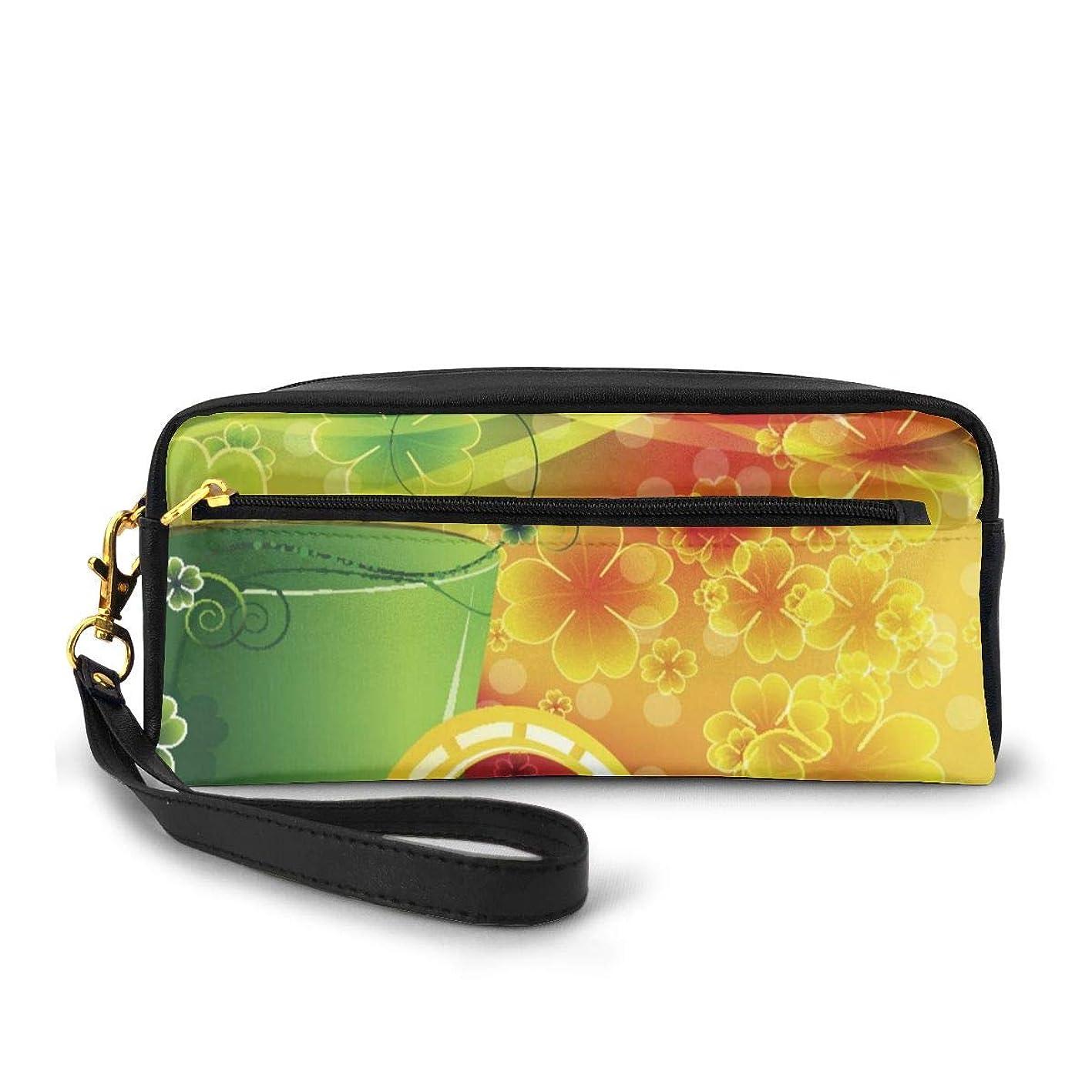 ほめるスマート宇宙飛行士ハッピー聖パトリックの日緑の帽子とクローバーリーフスプリング(5) 化粧品収納バッグ ウォッシュバッグ ハンドバッグ 化粧品袋 耐久性のある 筆箱 トラベルバッグ カラフルなス ポータブル スキンケア製品収納袋