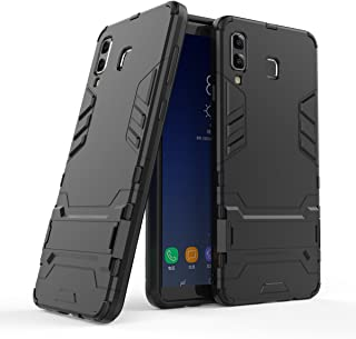 Galaxy A8 Star Case, Hybrid Armor Case [2 in 1] Lightweight Hard PC Cover + Flexible TPU Shock Absorption & Scratch Resistant with Kickstand for Samsung Galaxy A8 Star / A9 Star (2018) - Black
