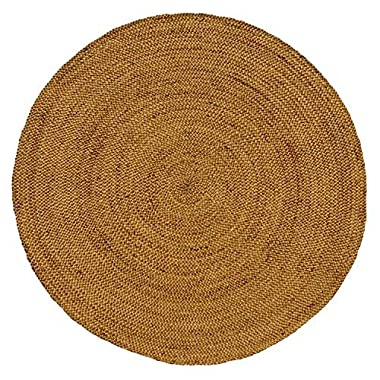 Iron Gate Handspun Jute Braided Area Rug 8 feet round, Handmade by Skilled Artisans, 100% Natural ecofriendly Jute yarns, Thick ribbed construction, Reversible for double the wear, Rug pad recommended