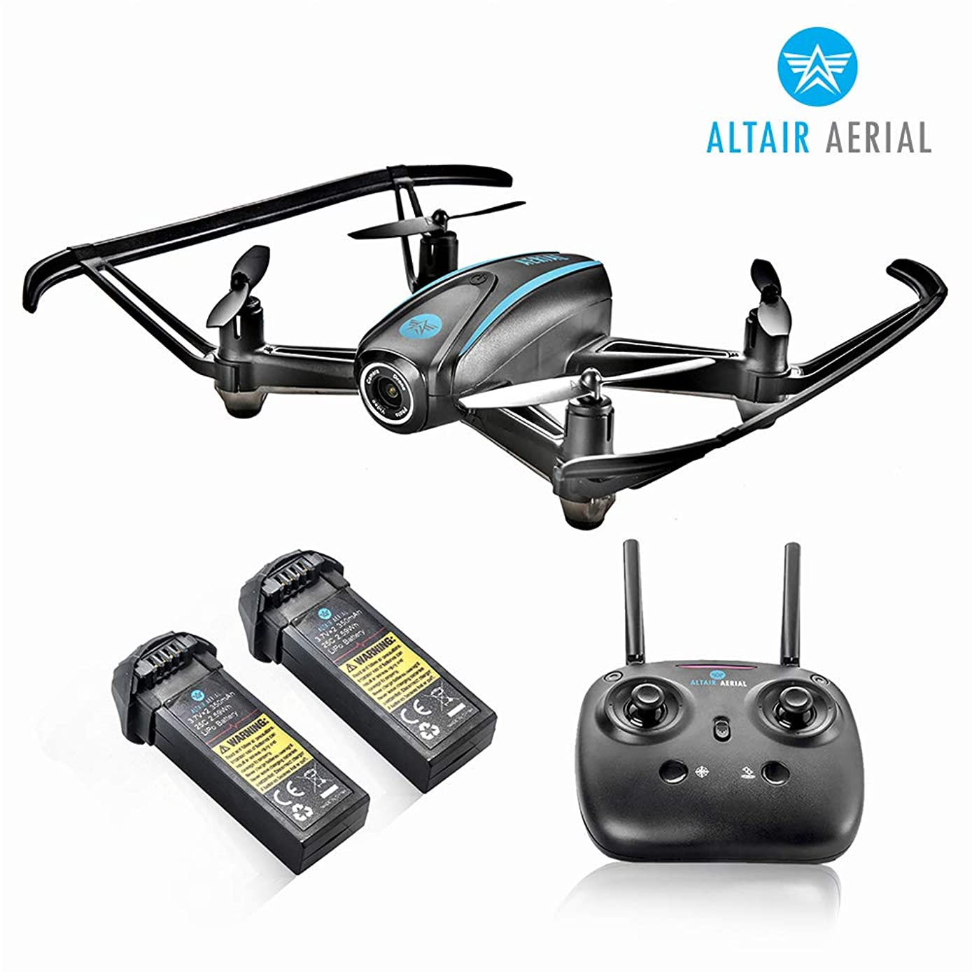 Altair #AA108 Camera Drone Great for Kids & Beginners, RC Quadcopter w/ 720p HD FPV Camera VR, Headless Mode, Altitude Hold, 3 Skill Modes, Easy Indoor Drone, 2 Batteries
