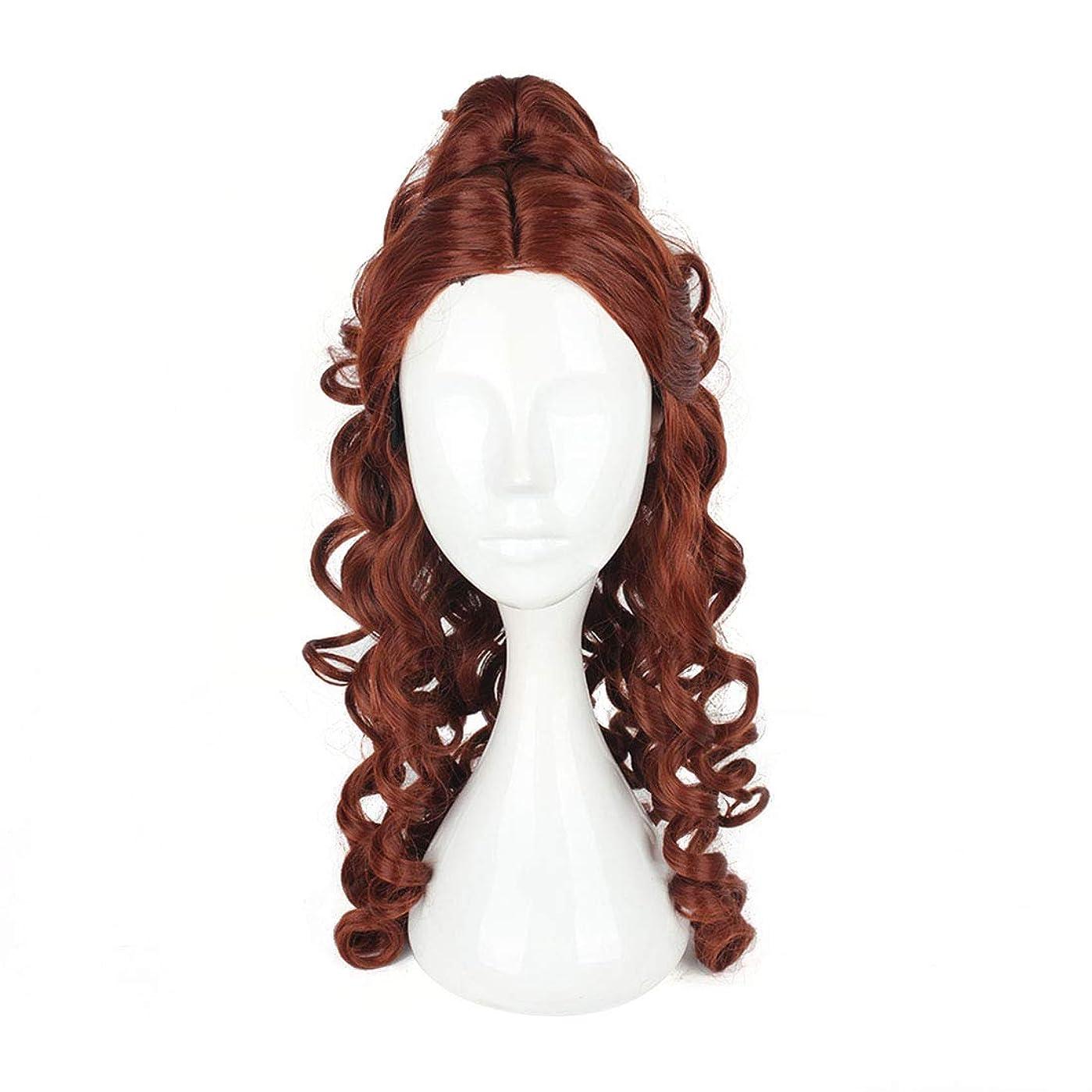 ホステス受動的デッキBOBIDYEE ヨーロッパとアメリカのかつら高つく茶色長い巻き毛のコスプレかつらプリンセスベル合成髪レースかつらロールプレイングかつら (色 : ブラウン)