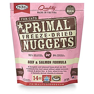 Primal Pet Foods Freeze-Dried Feline Beef and Salmon Formula 14oz