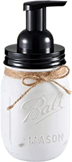 Andrew & Sarah Mason Jar Foaming Soap Dispenser - with 16 Ounce Ball Mason Jar for Bathroom Vanities,Kitchen Sink,Countertops - Made from Rust Proof Stainless Steel Lid and BPA Free Pump (White)