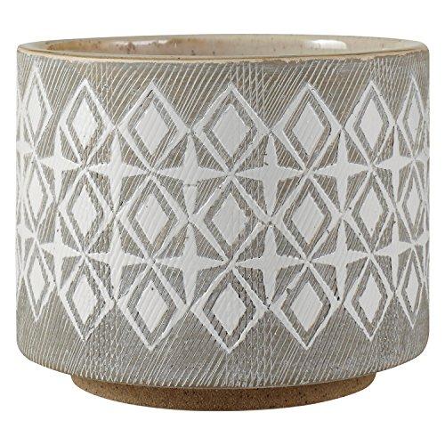 Rivet Macetero de cerámica geométrico, 10,4 cm de alto, blanco y gris