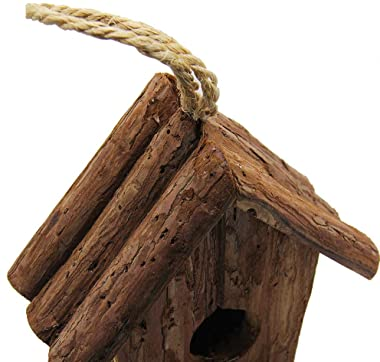 winemana Wooden Bird House, Outside Hanging Bird House for Small Bird, Made of Natural Bark