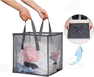 Mesh Popup Laundry Hamper with Handles,Portable Durable Collapsible Storage Easy Open. Folding Pop-Up Clothes Hampers Basket Foldable Great for The Kids Room College Dorm or Travel (Grey)