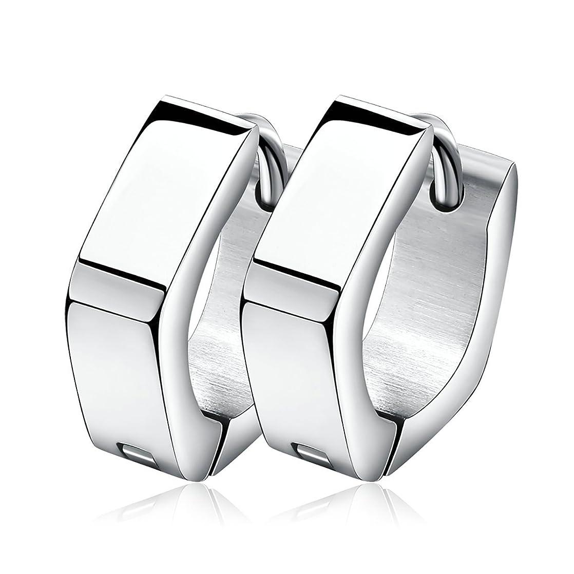 Tianyi Womens Huggie Earrings Stainless Steel Polished Silver Hoop Earrings Pentagon jkyemglx63919