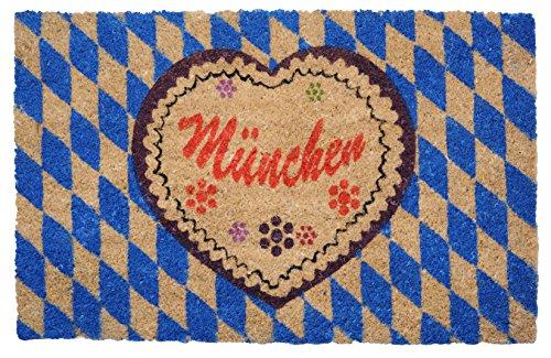"""Bambelaa! Extra Große Fußmatte Kokos """"München"""" (ca. 75x45 cm) Rutschfeste Pvc Gummi Unterlage Blau Weiß Braun 1 Stück"""