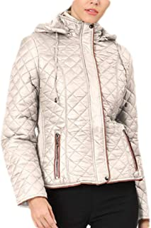 Macondoo Womens Padded Quilted Pocket Winter Zipper Hooded Jacket Anoraks Parka Coat