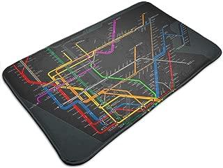 Anti-Slip Memory Foam Bath Mat Shower Rugs - New York Subway Map - 19.5 x 31.5 inch Absorbent Quick-Dry Floor Mat Carpets Home Decor Bathroom Tub Kichen Rugs