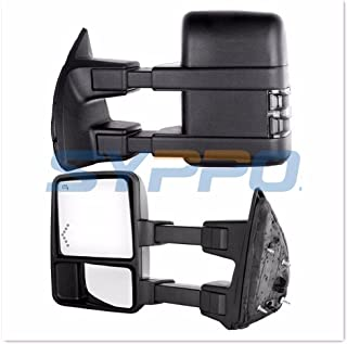 Pair Set of Upgraded Towing Mirrors for 2008-2016 Ford F250-F550 Super Duty Pickup Truck - Power Adjustment + Heated + LED Arrow and Smoke Lens Turn Signal + Dual Glass + Dual Arm (Black Housing)